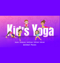 young kids in different yoga poses children doing vector image