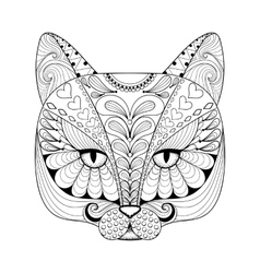 zentangle cat print for adult coloring page vector image