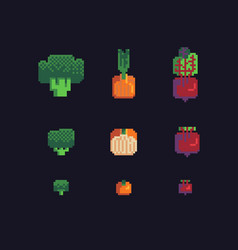 Broccoli onions and beets pixel art icons set vector