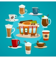 Coffee shop concept with different kinds of coffee vector image vector image