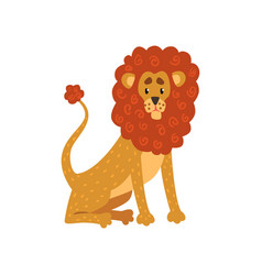 cute funny lion cartoon character vector image