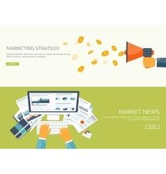 Flat backgrounds set Market vector image