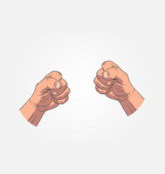 realistic sketch hands - gestures hand-drawn icon vector image
