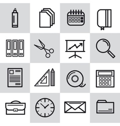 Sixteen thin line office icons vector image
