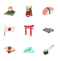 Tourism in japan icons set cartoon style vector