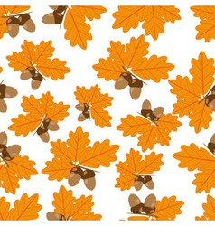 Acorns With Oak Leaves in Autumn Seamless Texture vector image