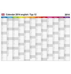Calendar 2014 English Type 12 vector image vector image