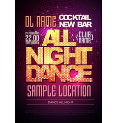 Disco poster dance all night vector