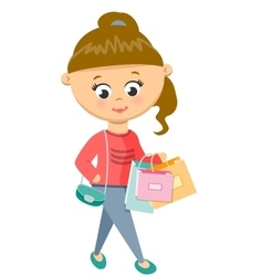 Girl is shoping walks in sweater and jeans vector