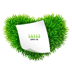 Grassy heart with a clean sheet of paper vector image vector image