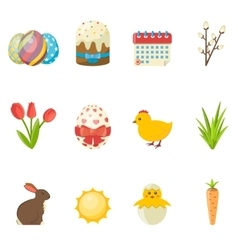 Set of Happy Easter icons flat vector image