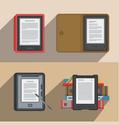 Electronic books icon set flat electronics vector