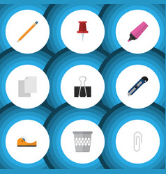 Flat icon tool set of drawing tool trashcan vector