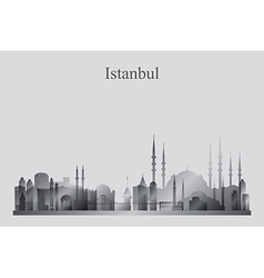 Istanbul city skyline silhouette in grayscale vector