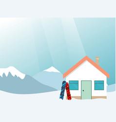 ski resort banner mountains landscape village vector image vector image