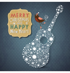Christmas and New Year vintage card vector image vector image