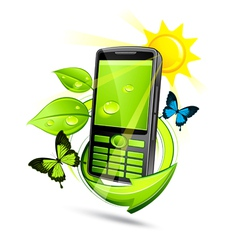 green eco mobile phone vector image