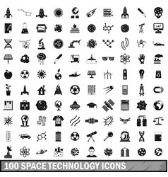 100 space technology icons set simple style vector