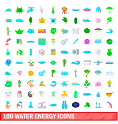 100 water energy icons set cartoon style vector