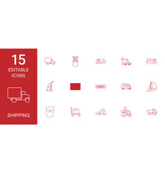 15 shipping icons vector image