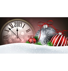 2017 New Year banner with clock vector