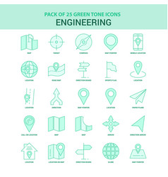 25 green engineering icon set vector image