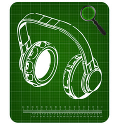 3d model of headphone on a green vector image