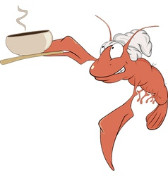 A red lobster a cook cartoon vector