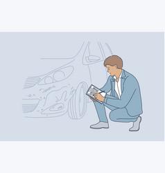 Accident examination checkup collision vector