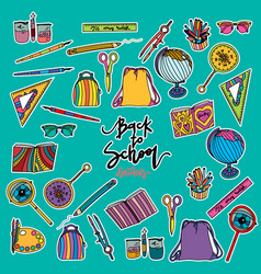 back to school set of stickers vector image