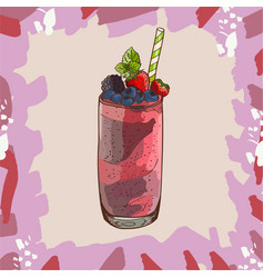 berry smoothie recipe menu element for cafe or vector image