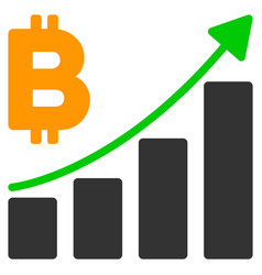 bitcoin growth trend flat icon vector image
