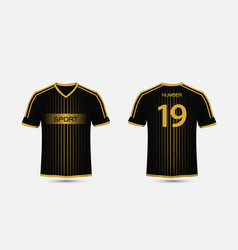 Black and gold pattern sport football kits vector