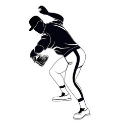 black baseball pitcher throwing ball vector image