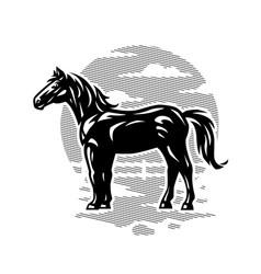black horse white logo vector image