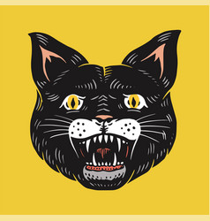 black witch cat evil scary mystical animal vector image