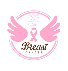 Breast cancer hope love care label vector
