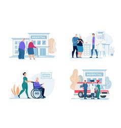 Bright flyer hospital visit lettering cartoon vector