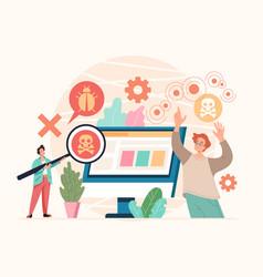 Bug tester virus searching teamwork concept vector