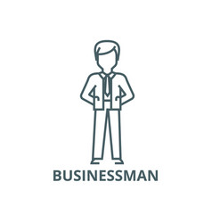 businessman with hands back line icon vector image