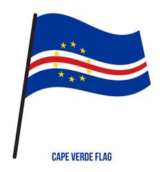 cape verde flag waving on white background cape vector image