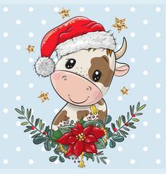 Cartoon bull in santa hat with christmas wreath vector