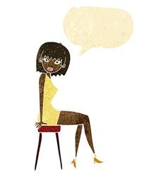 cartoon woman sitting on stool with speech bubble vector image