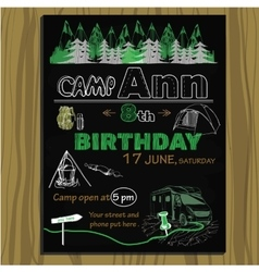chalk board invitation for birthday in the camping vector image