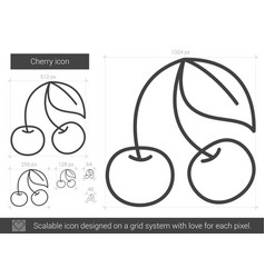 cherry line icon vector image