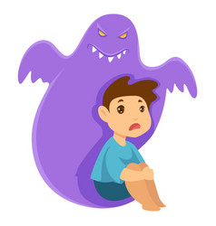 Child and monster nightmare phobia and imaginary vector