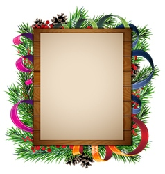 Christmas tree branches and wooden billboard vector