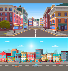 city infrastructure street with buildings and car vector image