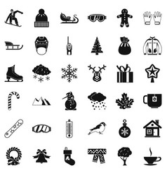 Cold winter icons set simple style vector