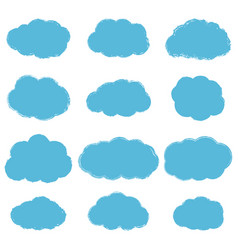 collection light blue grunge textured clouds vector image